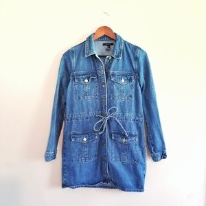 Forever 21 Oversized Long Tie Waist Denim Jacket